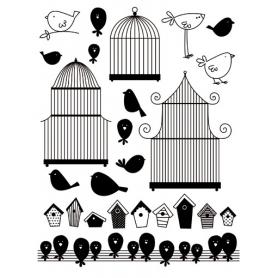 "Tampons Clear ""cage et oiseaux"" Arttemio"