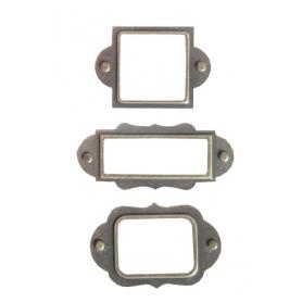Plaques pour étiquettes, vintages en métal x 3