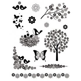 """Tampons Clear """"fleurs et oiseaux"""" Artemio"""