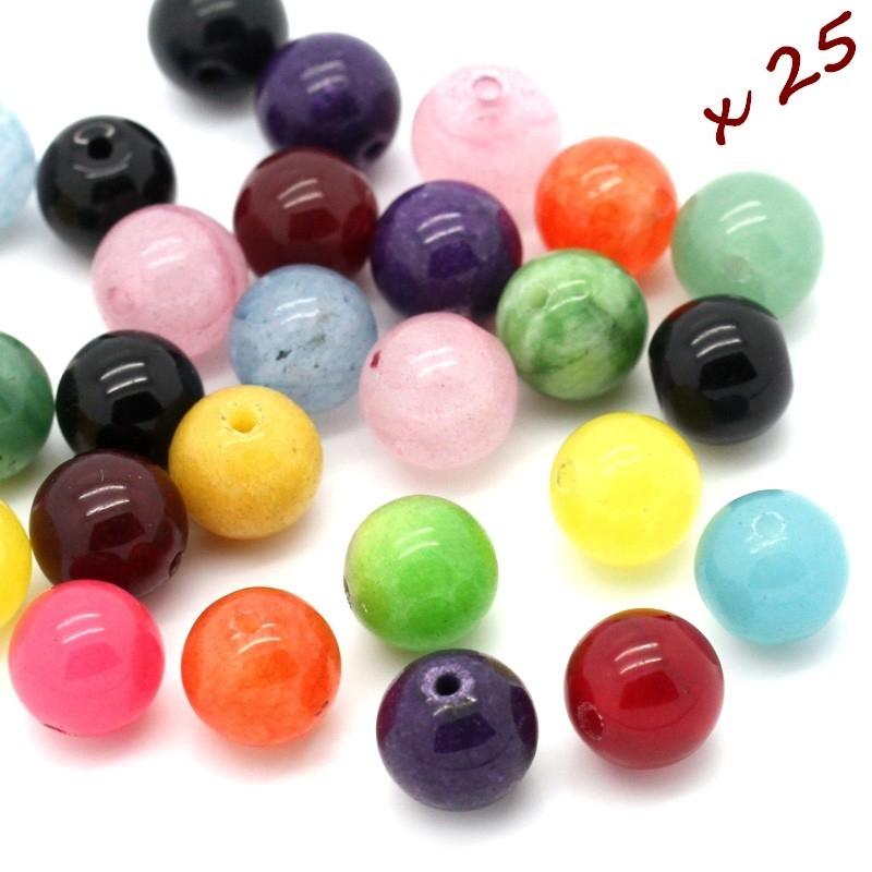 Perles 8 mm imitation agate x 25