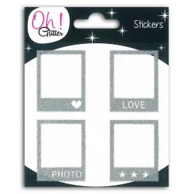 Stickers polaroïds Oh Glitter argent de Toga x 4 pièces