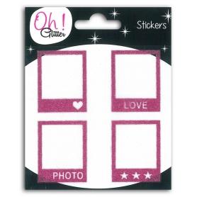 Stickers polaroïds Oh Glitter rose de Toga x 4 pièces