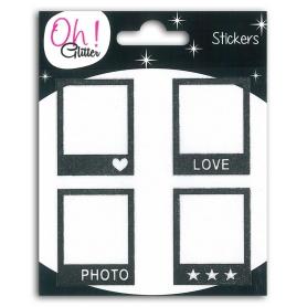 Stickers polaroïds Oh Glitter noir de Toga x 4 pièces