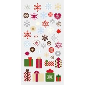 Stickers 3D Noël motifs flocons et cadeaux par Artemio