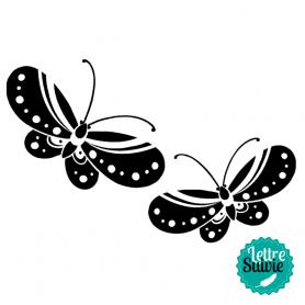 Tampon bois 2 papillons Aladine