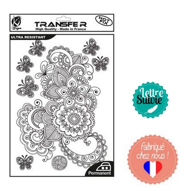 époustouflant transfert textile noir thermocollant motifs arabesques et fleurs &VF_96