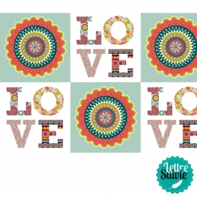 Coupon de tissu 45x55 cm Artemio Oldies Love