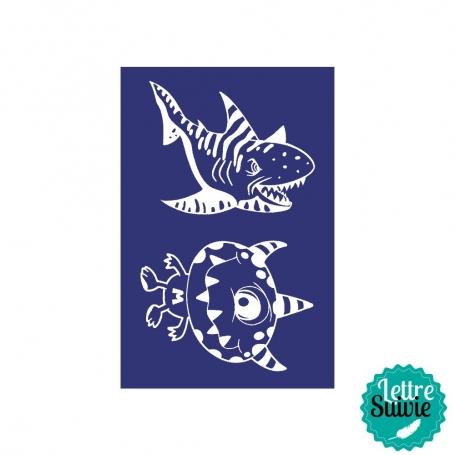 Pochoir My Style - Extra terrestre et requin A5