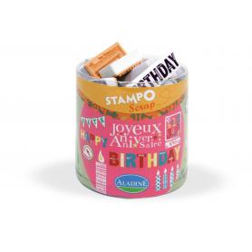 Stampo Scrap anniversaire Aladine x 34 tampons