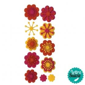 """Motifs feutrine """"fleurs"""" oranges et jaunes"""