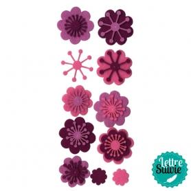 """Motifs feutrine """"fleurs"""" roses et violettes"""