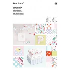"""Bloc A4 papier scrapbooking """"Romantique"""" Rico Design"""