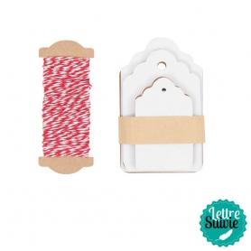 Etiquettes cadeaux blanche et ficelle bicolore