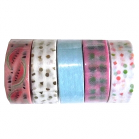 "Lot de 5 rouleaux de masking tape ""Tropical Spring"" ananas - Rico Design"
