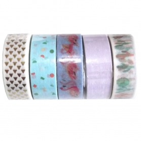 "Lot de 5 rouleaux de masking tape ""Tropical Spring"" Flamants roses - Rico Design"