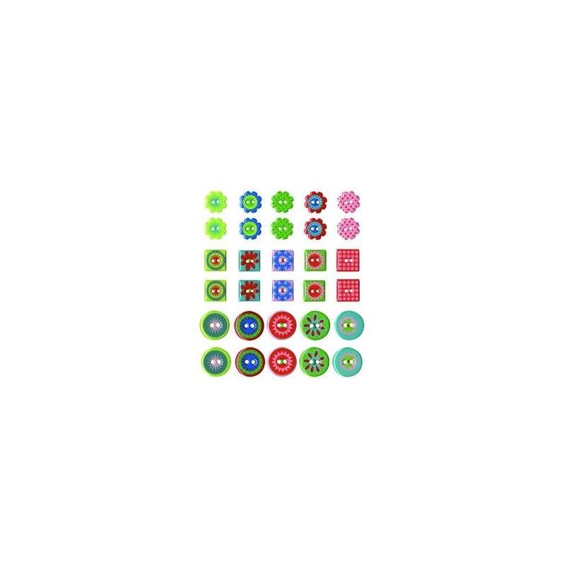 """Boutons epoxy """"kids jardin"""" 30 pièces"""