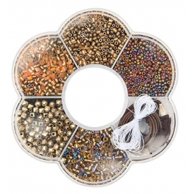 Kit perles pour collier or - Rico Design