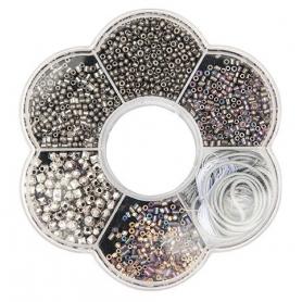 Kit perles pour collier argent - Rico Design
