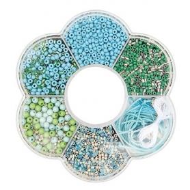 Kit perles pour collier bleu - Rico Design