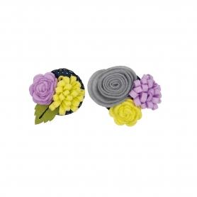 Kit feutrine création de fleur gris / parme