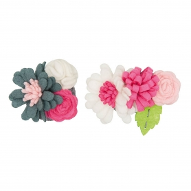 Kit feutrine création de fleur gris / rose
