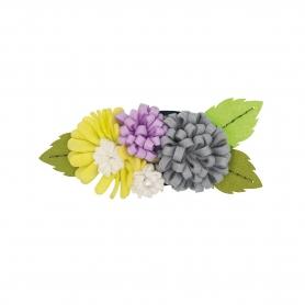 Kit feutrine création bouquet de fleur gris / parme / jaune