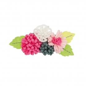 Kit feutrine création bouquet de fleur gris / rose / blanc