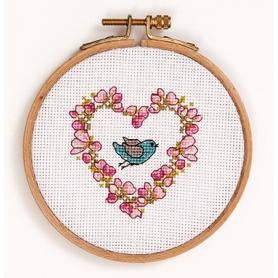 """Kit complet de broderie """"oiseau et rameau"""" points de croix - Rico Design"""