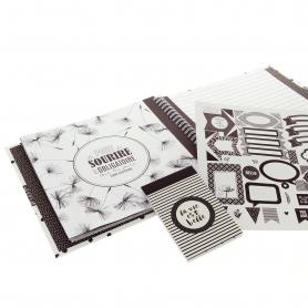 Kit journal créatif noir et blanc - Artemio