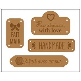 "Etiquettes en cuir marron ""handmade"" x 4 - Artemio"