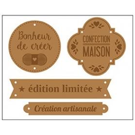 """Etiquettes en cuir marron """"fait maison"""" x 4 - Artemio"""