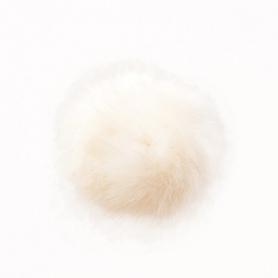"Gros pompon fausse fourrure 10 cm ""nature"" Rico design"