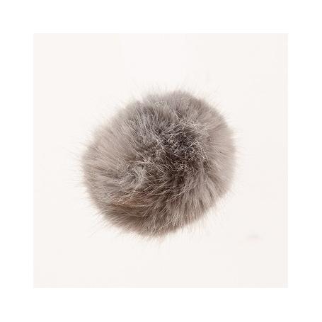 """Gros pompon fausse fourrure 10 cm """"gris"""" Rico design"""