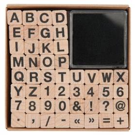 Kit tampons en bois alphabet et encreur - Rico Design