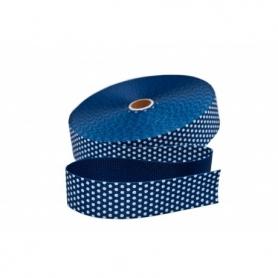 Sangle 30 mm bleu marine à pois blanc vendue au mètre