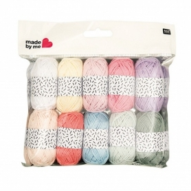 Lot de 10 mini pelotes coloris pastel Rico design