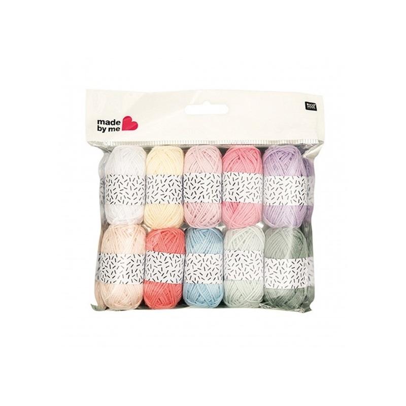 Lot de 10 mini pelotes coloris pastel Rico design