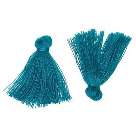 Petits pompons à bijoux bleu canard x 4