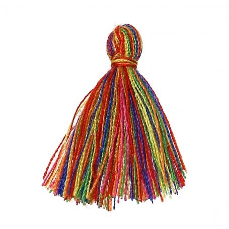 Petits pompons à bijoux multicolore x 4