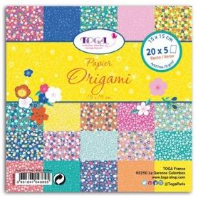 """Papier Origami """"fleurs du japon """" 100 feuilles Toga"""
