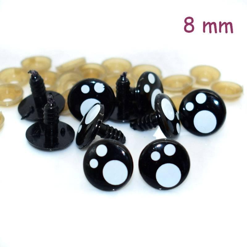 2 Yeux kawaii amigurumi et doudous 8 mm
