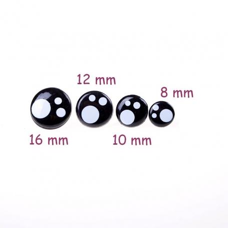 Lot 4 paires d'yeux kawaii amigurumi 8 mm, 10 mm, 12mm et 16 mm