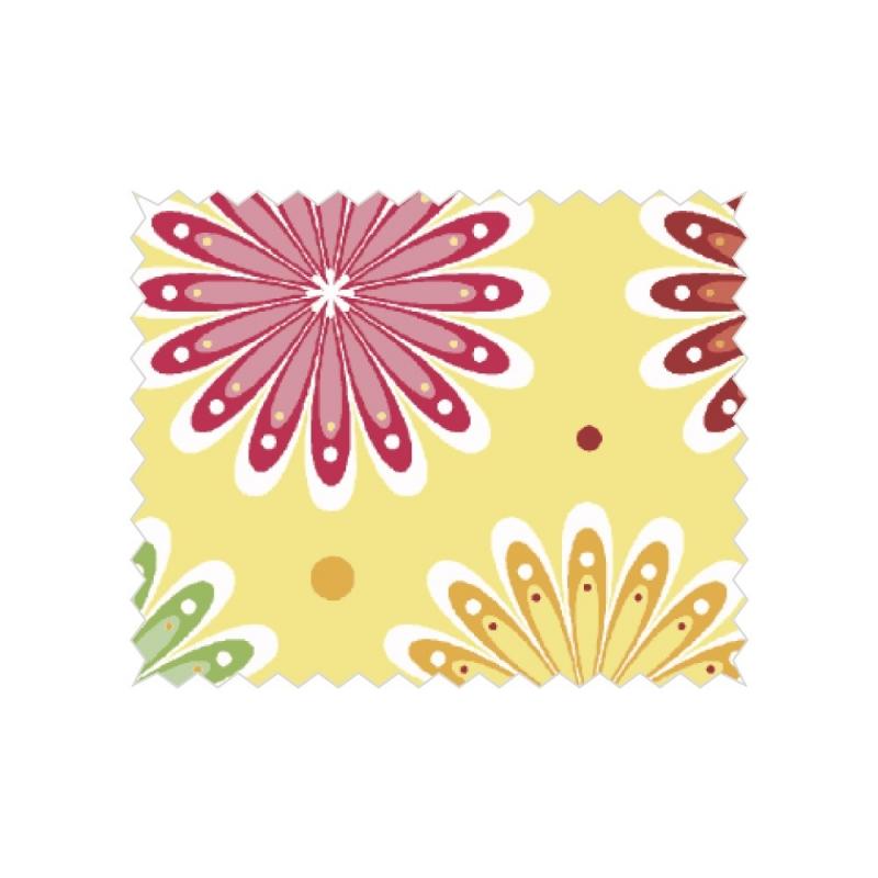 "Coupon tissu Tante Ema ""lit de fleurs"" jaune"