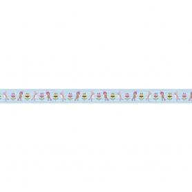 "Fabric tape, rouleau de tissu adhésif ""fleurs et oiseau"""