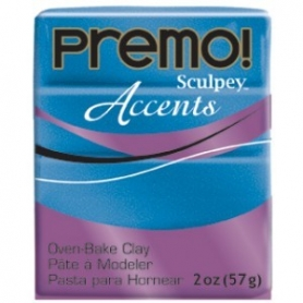 Premo Sculpey pain de 57g - Accents bleu pailleté 5049