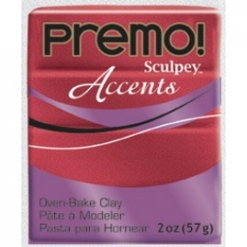 Premo Sculpey pain de 57g - Accents rouge pailleté 5051