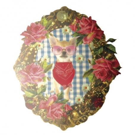 "Transfert textile chihuahua ""Tiny Roses"""