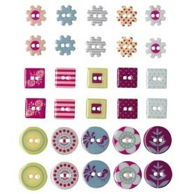 """Boutons epoxy """"vintage"""" 30 pièces"""