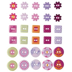 """Boutons epoxy """"flowers"""" 30 pièces"""