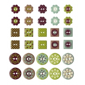 """Boutons epoxy """"Oldies"""" 30 pièces"""